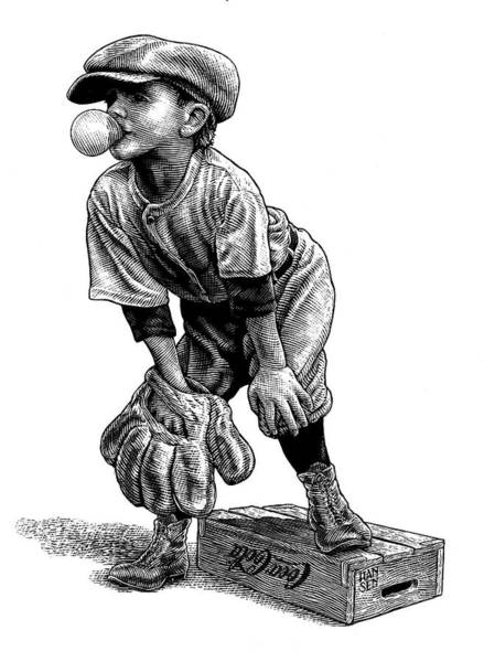 Poster featuring the drawing Little Leaguer by Clint Hansen
