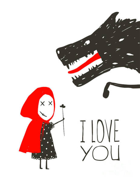 Little Red Riding Presenting Flower To Poster