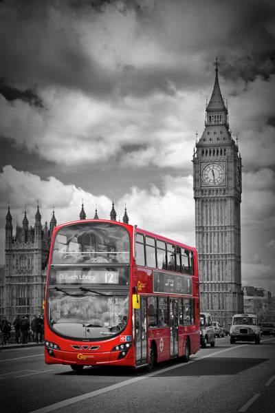 London Houses Of Parliament And Red Bus Poster