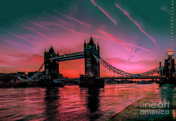 London Tower Bridge Sunrise Pano Poster