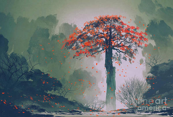 Lonely Red Autumn Tree With Falling Poster