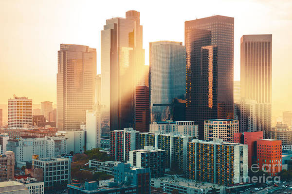 Los Angeles Downtown Skyline At Sunset Poster