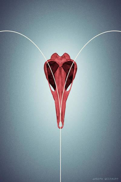 Love From Ornithurae - Geometric Abstract Bird Skull Heart Poster