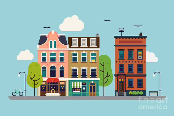 Lovely Colorful City Downtown Landscape Poster