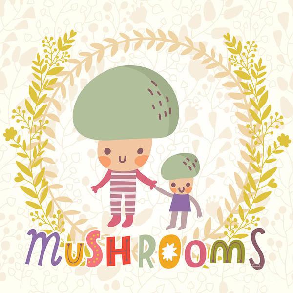 Lovely Mushroom In Funny Cartoon Style Poster