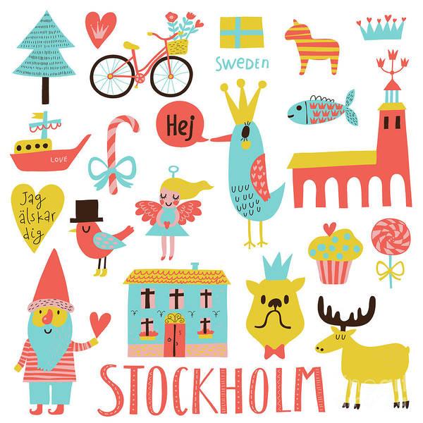 Lovely Stockholm Sweden Set In Vector Poster