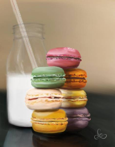 Poster featuring the pastel Macaroons  by Fe Jones
