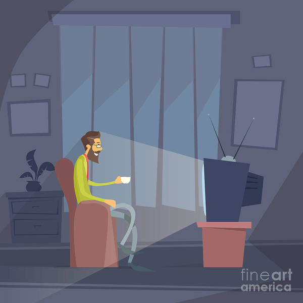 Man Sitting Watching Tv Home Chair Poster