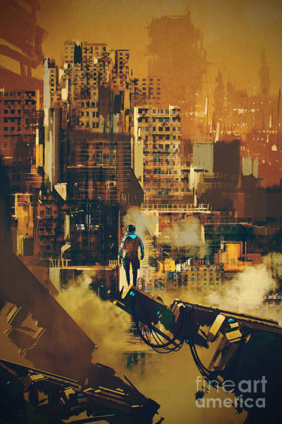 Man Standing On Futuristic Poster