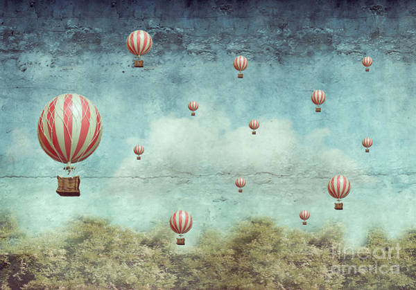Many Hot Air Balloons Flying Over A Poster