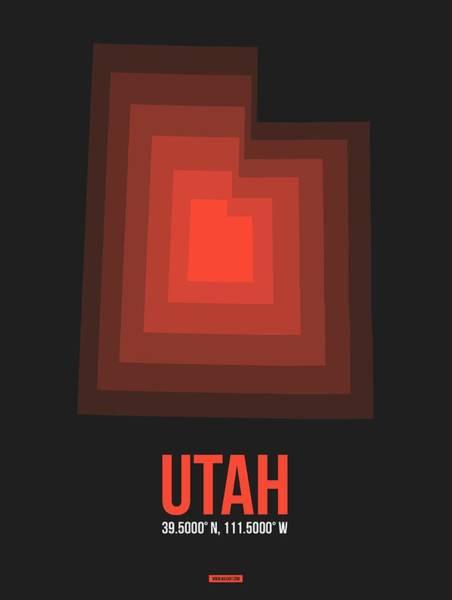 Map Of Utah Red Poster
