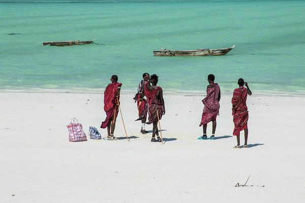 Massai At The Beach Poster