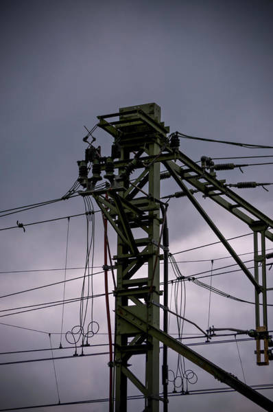 Poster featuring the photograph Mast Overhead Line Rail. by Anjo Ten Kate