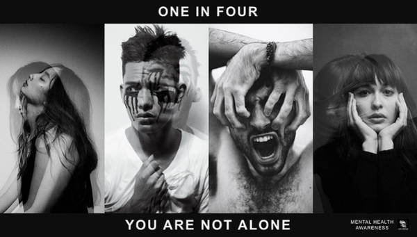 Poster featuring the digital art Mental Health Awareness - You Are Not Alone by ISAW Company
