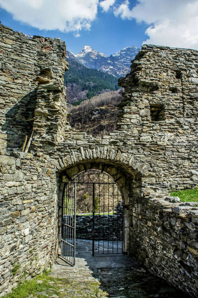 Poster featuring the photograph Mesocco Castle Gate With Mountains by Dawn Richards