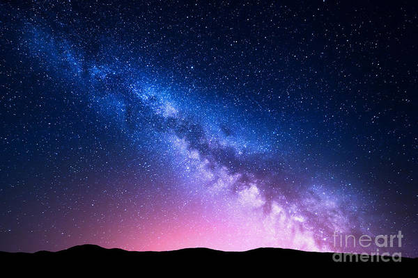 Milky Way And Pink Light At Mountains Poster