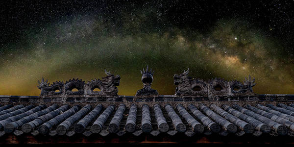 Milky Way Arch Over Chinese Temple Roof Poster