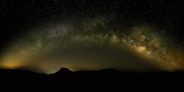Milky Way Arch Panorama Over Tianping Mountain And Ridge-line Poster