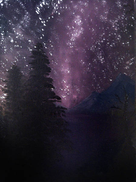 Poster featuring the painting Milky Way Lake by Chance Kafka