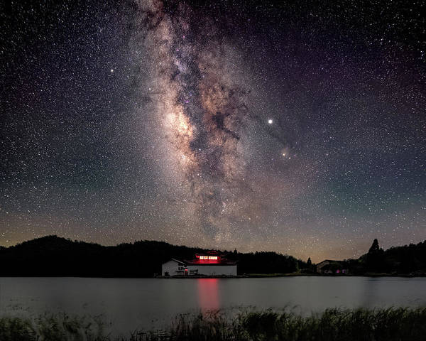 Milky Way Over The Tianping Mountain Lake Temple Poster