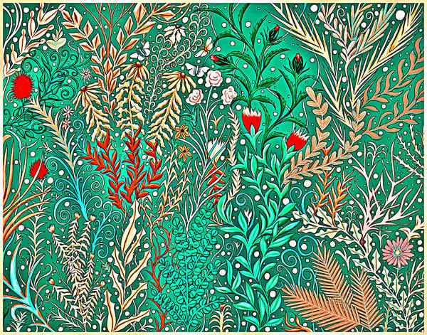 Millefleurs Home Decor Design In Brilliant Green And Light Oranges With Leaves And Flowers Poster