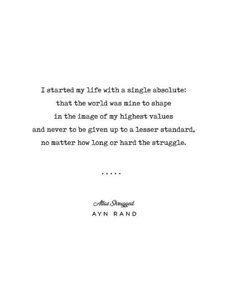 Minimal Ayn Rand Quote 01- Atlas Shrugged - Modern, Classy, Sophisticated Art Prints For Interiors Poster