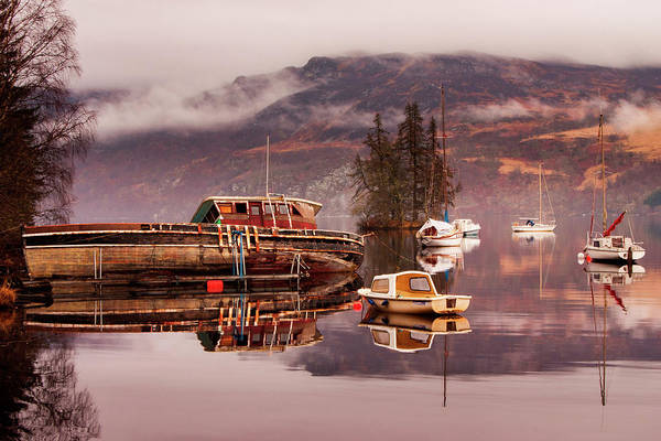 Misty Morning Reflections Of Loch Ness Poster