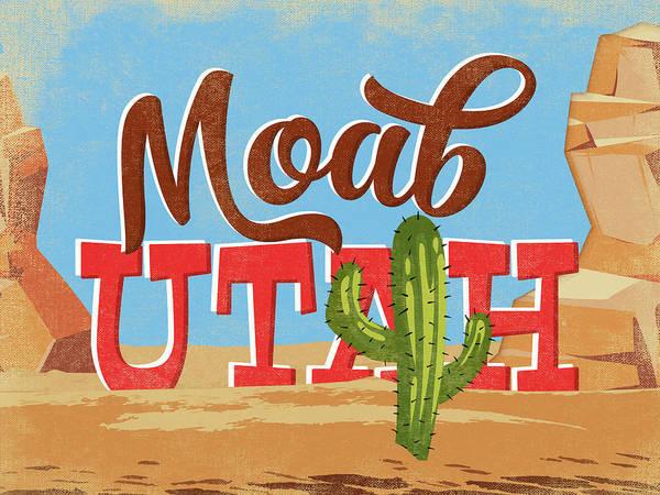 Moab Utah Cartoon Desert Poster