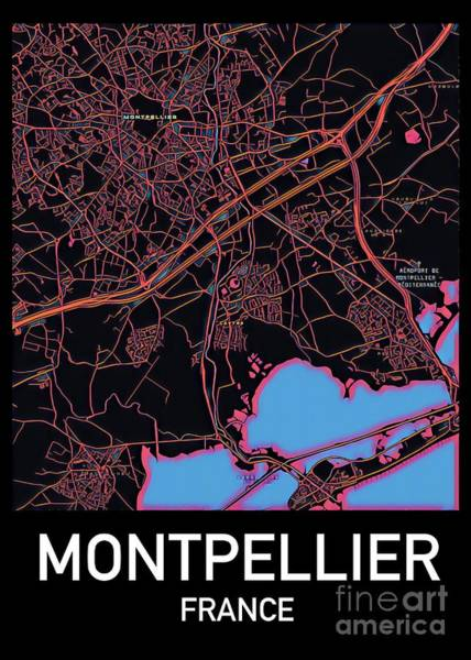 Montpellier City Map Poster