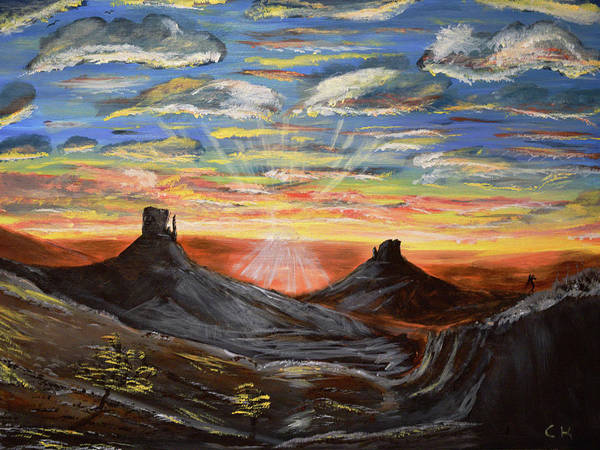 Poster featuring the painting Monument Valley And Kokopelli by Chance Kafka