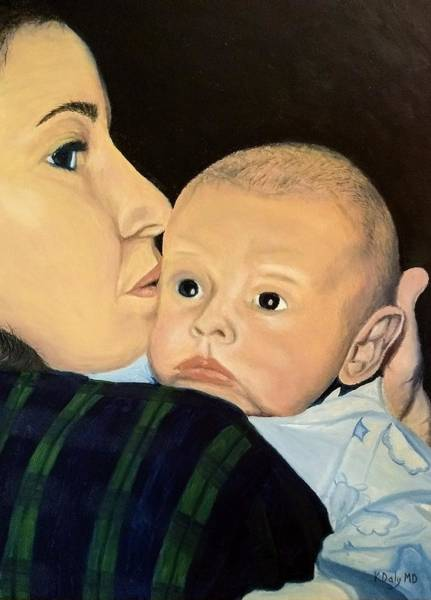 Poster featuring the painting Mother And Son by Kevin Daly
