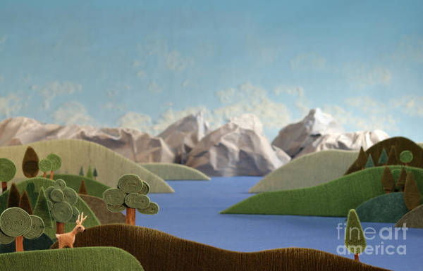 Mountains Panorama With Deer - Alpine Poster