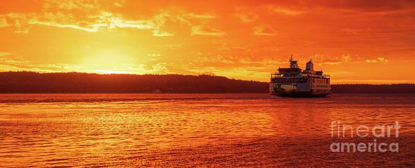 Mukilteo Ferry On Puget Sound Sunset Reflection Poster