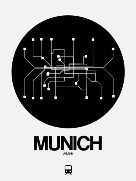 Munich Black Subway Map Poster