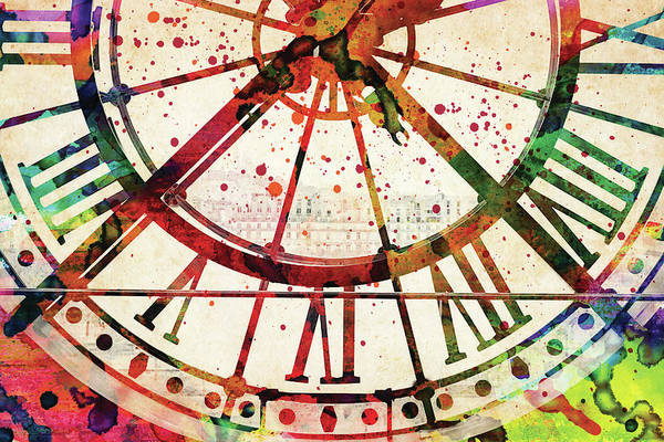 Musee D'orsay Clock Colorful Watercolor Poster
