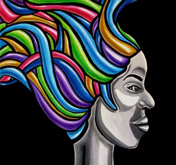Colorful Abstract Black Woman Face Hair Painting Artwork - African Goddess Poster