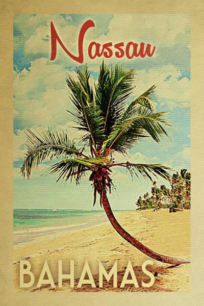 Nassau Bahamas Palm Tree Poster