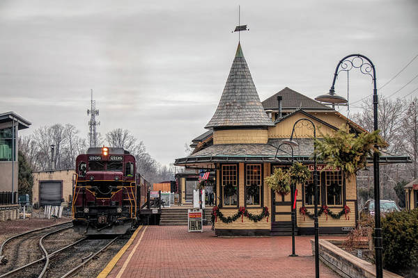 New Hope Train Station At Christmas Poster