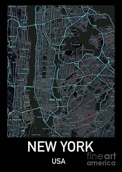 New York City Map Black Edition Poster