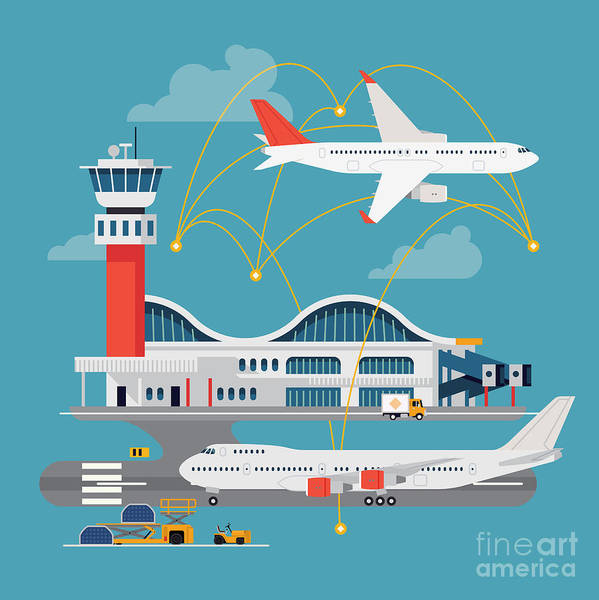 Nice Vector Concept Layout On Airport Poster