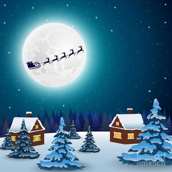 Night Christmas Forest Landscape. Santa Poster