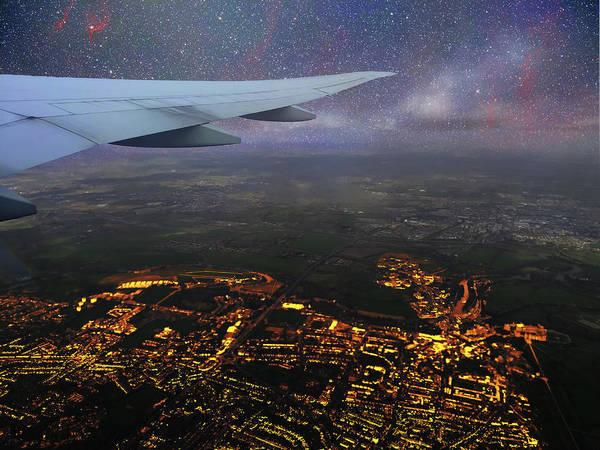 Night Flight Over City Lights Poster