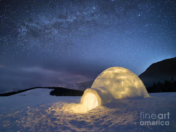 Night Landscape With A Snow Igloo With Poster