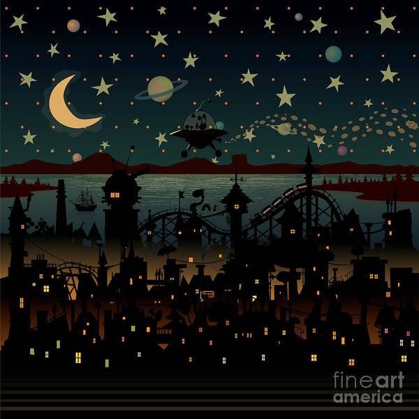 Night Scene Illustration With Ufo Poster