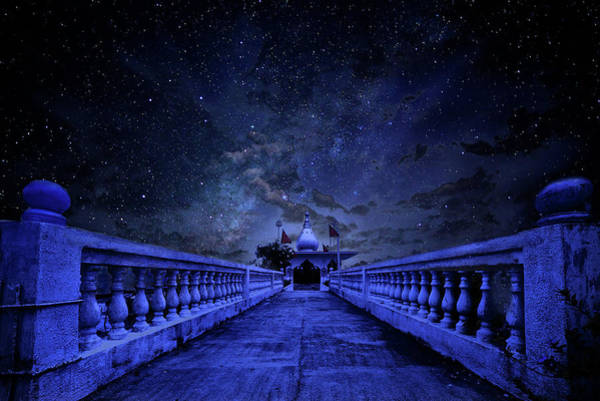 Night Sky Over The Temple Poster
