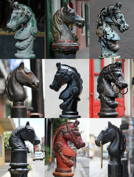 Nine Horse Head Hitching Posts Poster