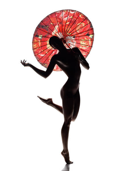 Nude Woman With Red Parasol Poster