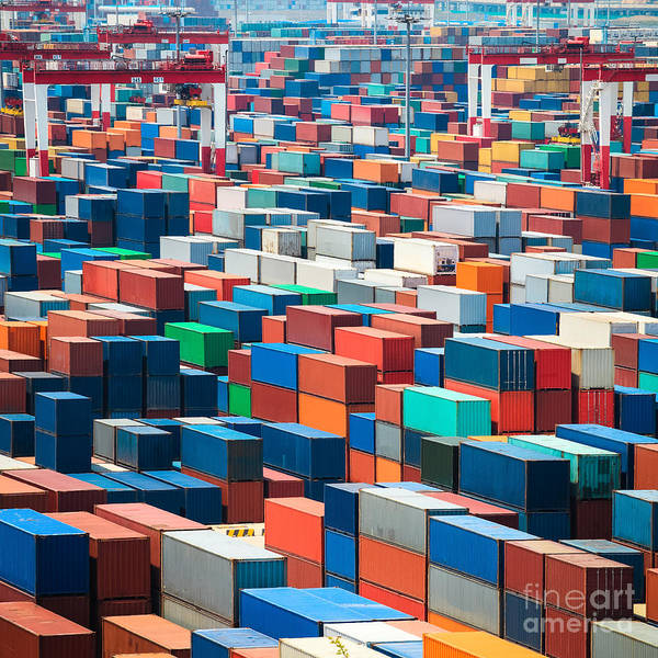 Numerous Shipping Containers In Port Poster