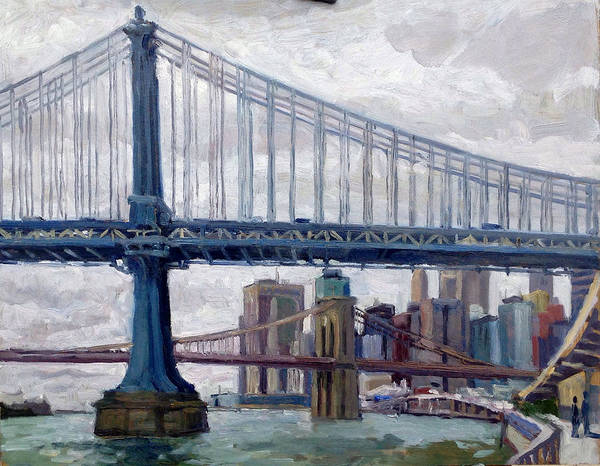 Nyc Grey And Blue Manhattan Bridge Poster