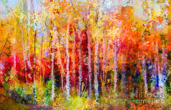 Oil Painting Landscape, Colorful Autumn Poster
